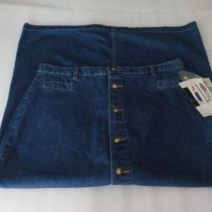 White Stag Long Button Front Jeans Skirt NWT